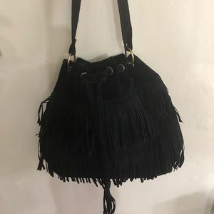 Womens Black Faux Suede Fringe Purse with strapNEW